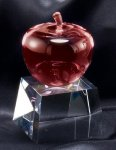 Crystal Red Apple On Base Red Optical Crystal Awards