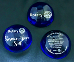 Exclusively ours - Blue Domed Rotary Crystal Paperweights ROTARY INTL LICENSED