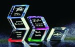 Slanted Hex Paper Weight Acrylic Award Teacher Gifts